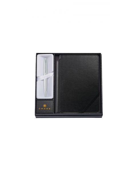 Calais Satin Chrome Ballpoint Pen with Medium Classic Black Journal