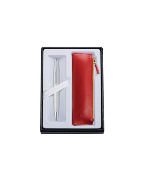 Calais Satin Chrome Ballpoint with Crimson Pouch