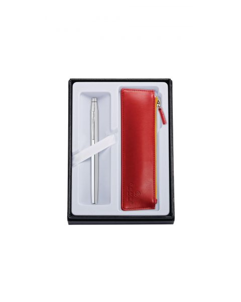 Classic Century Chrome Rollerball with Crimson Pouch