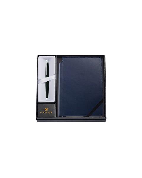 ATX Basalt Black Ballpoint Pen with Medium Midnight Blue Journal