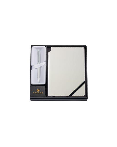 Calais Satin Chrome Ballpoint Pen with Medium Classic White Journal