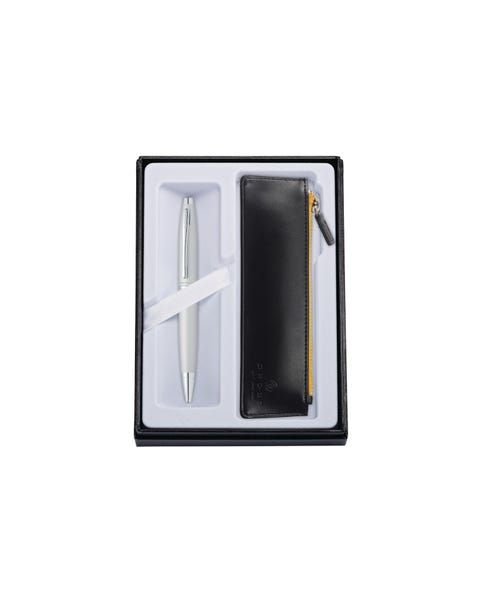 Calais Satin Chrome Ballpoint with Classic Black Pouch