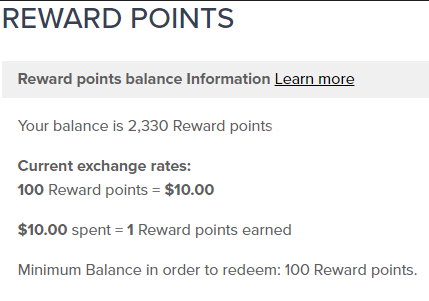 My Reward Point Information